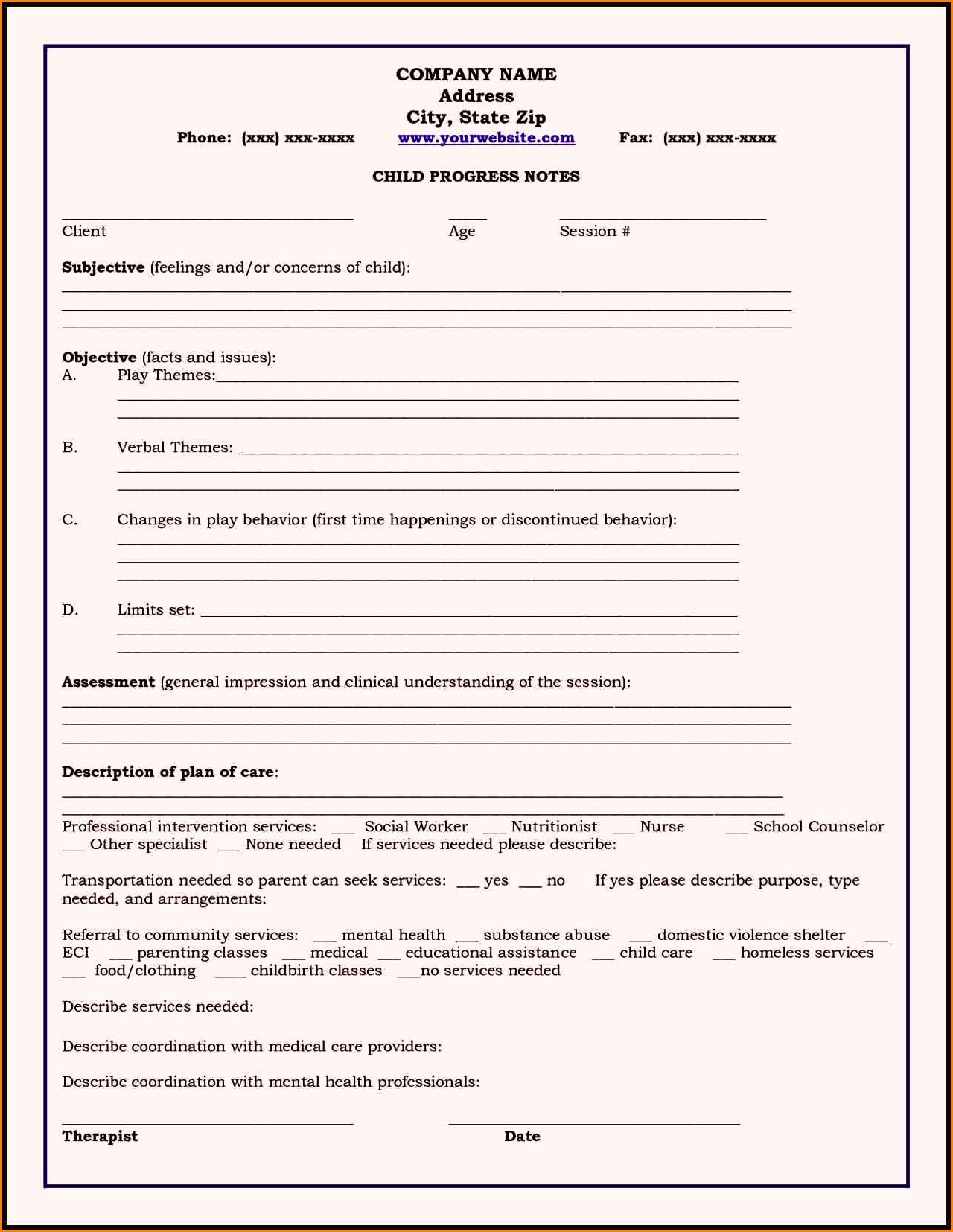 Psychotherapy Forms Templates