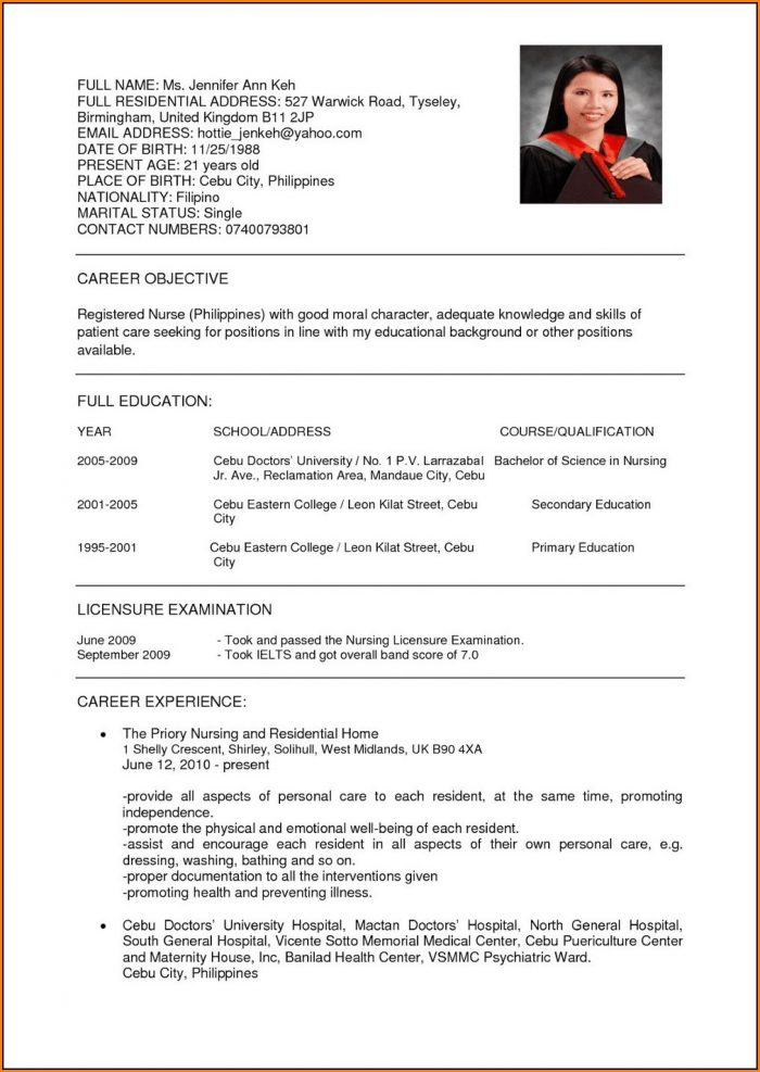 Registered Nurse Resume Template Canada
