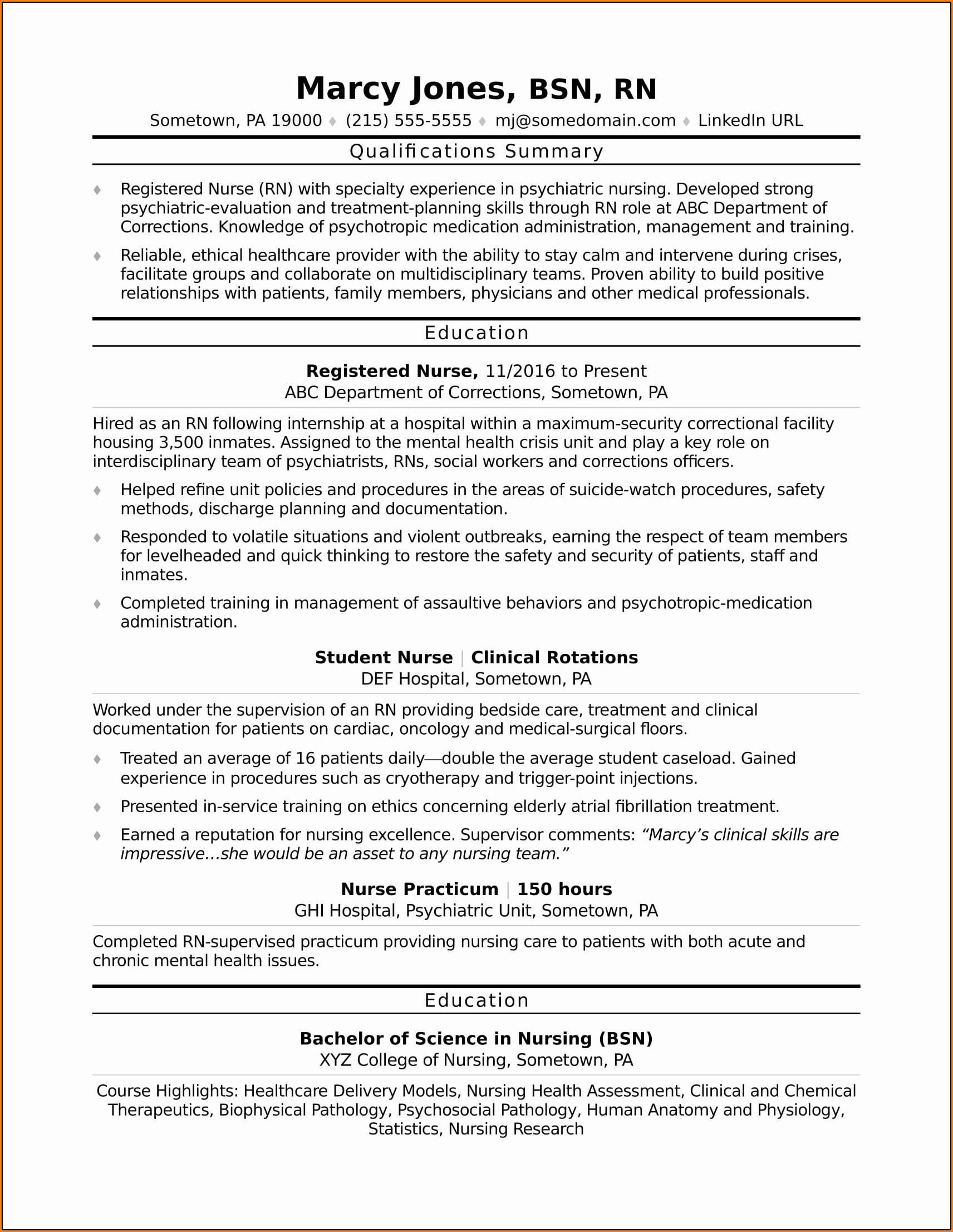 Registered Nurse Resume Templates