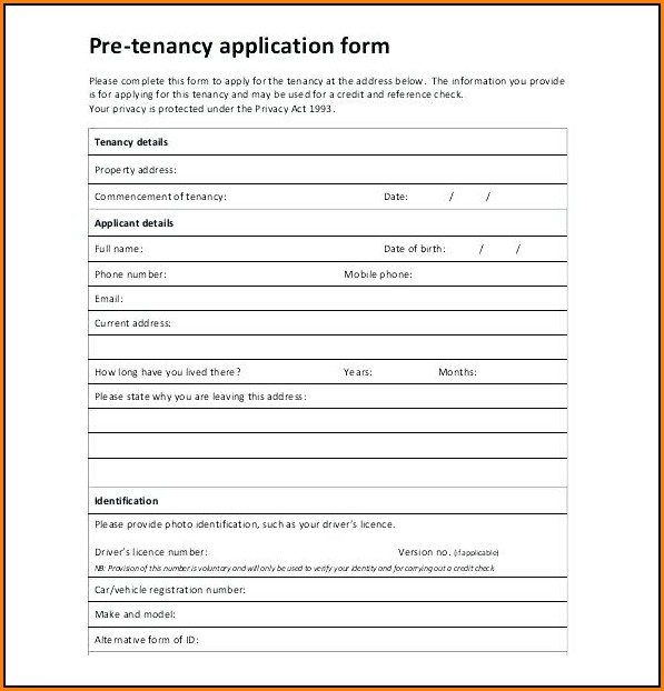 Registration Form Template Free Download Word