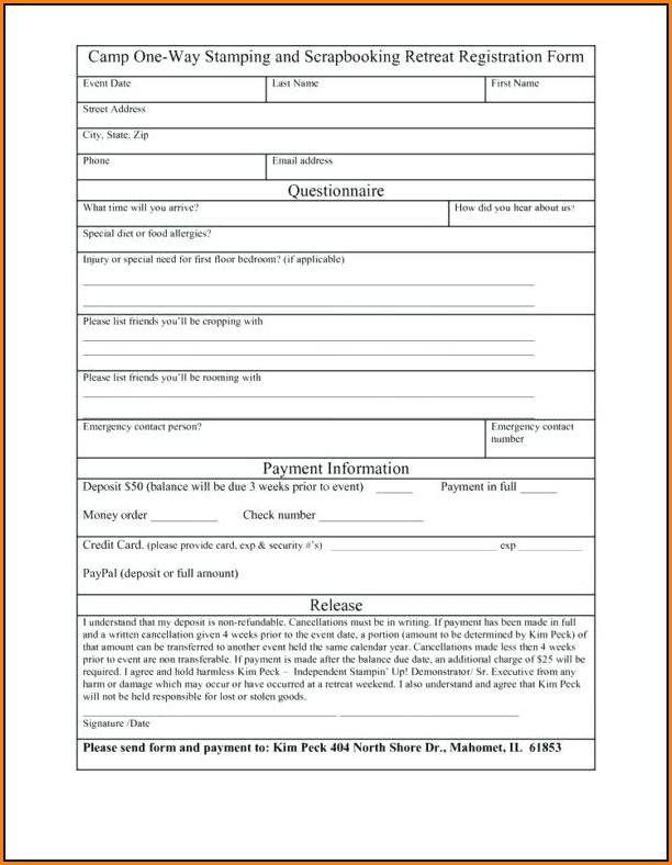 Registration Form Template Free Download