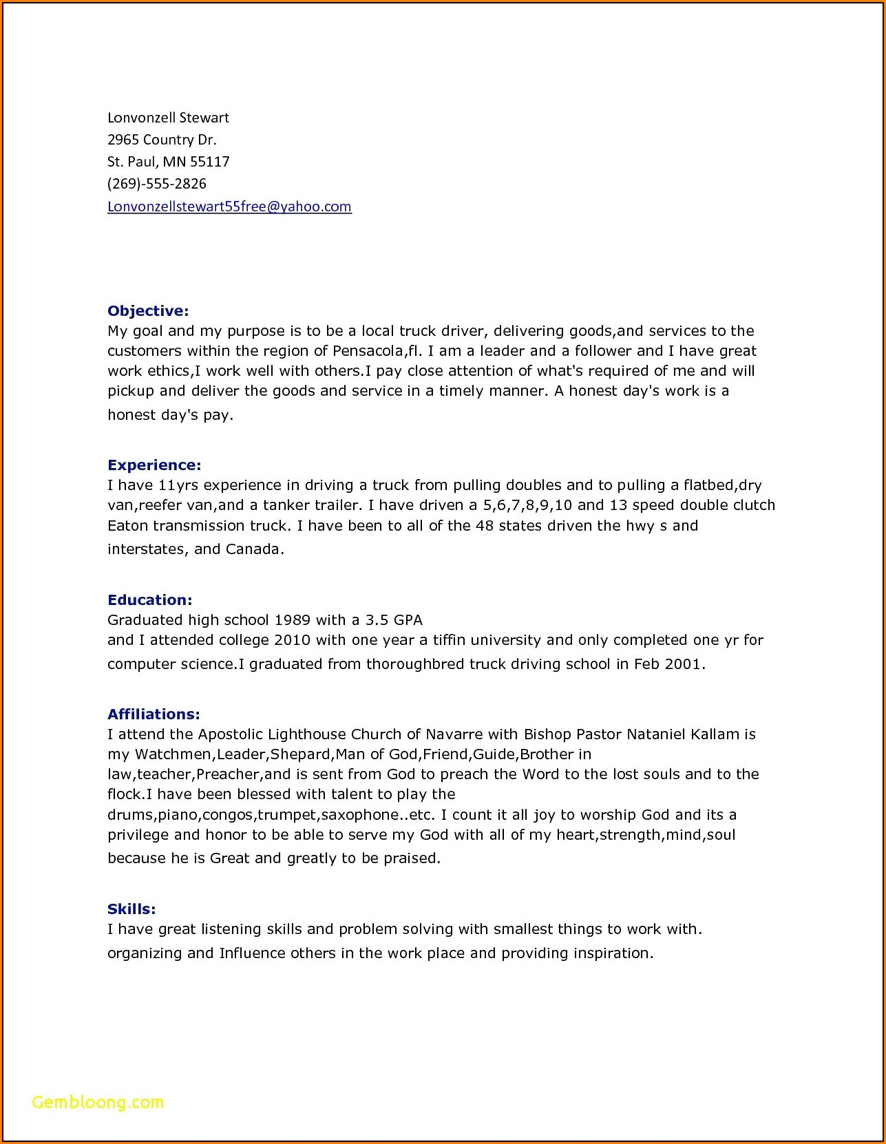 Resume For Driving Job