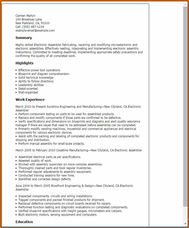 Resume For Electronic Assembler