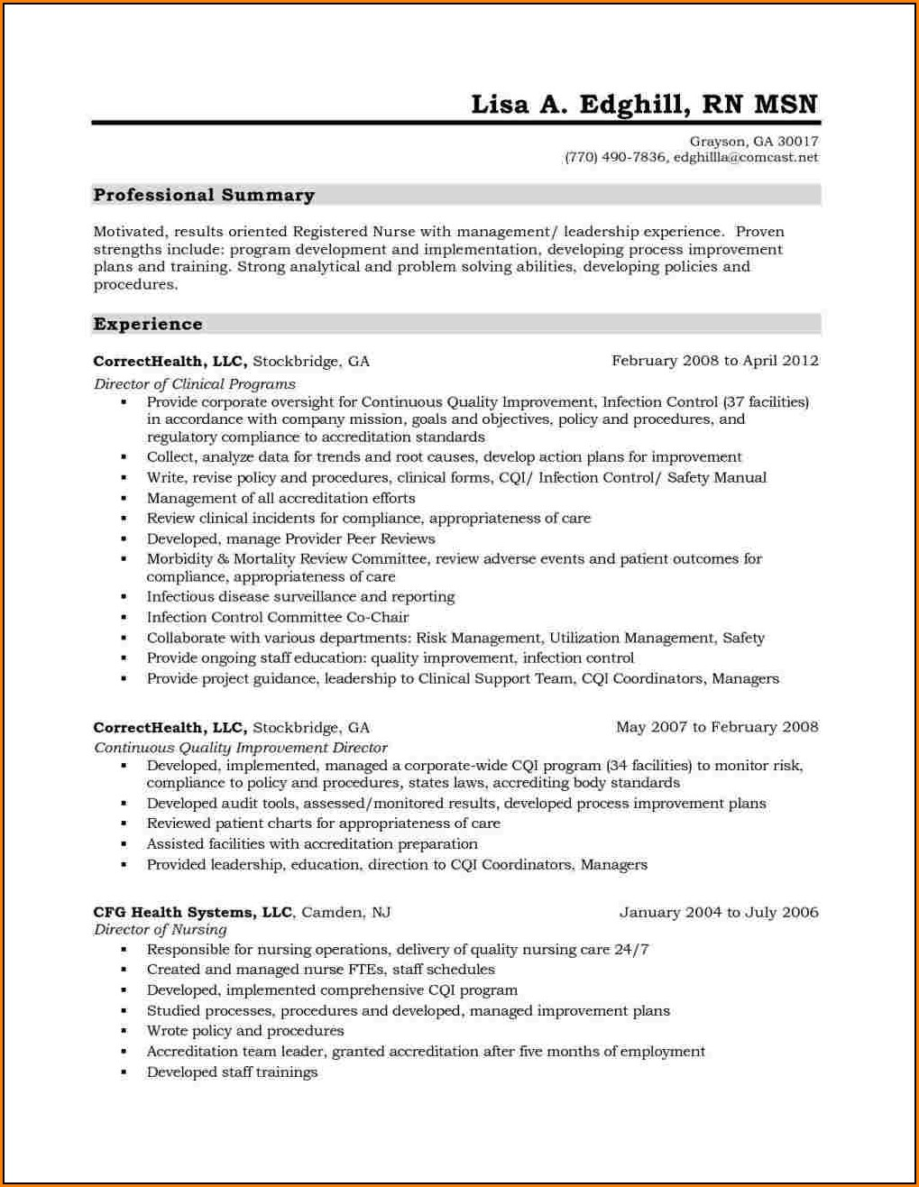 Resume For Registered Nurse Canada