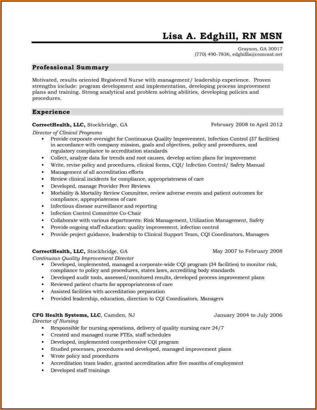Resume For Registered Nurse Canada