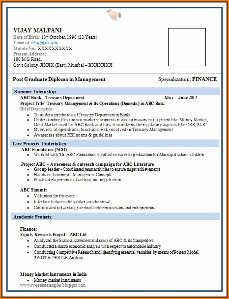 Resume Format For Freshers Pdf Free Download