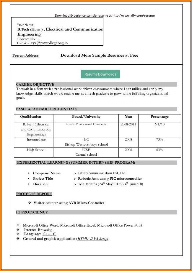 Resume In Ms Word Format Free Download