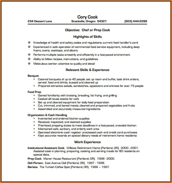 Resume Sample For Chef Cook