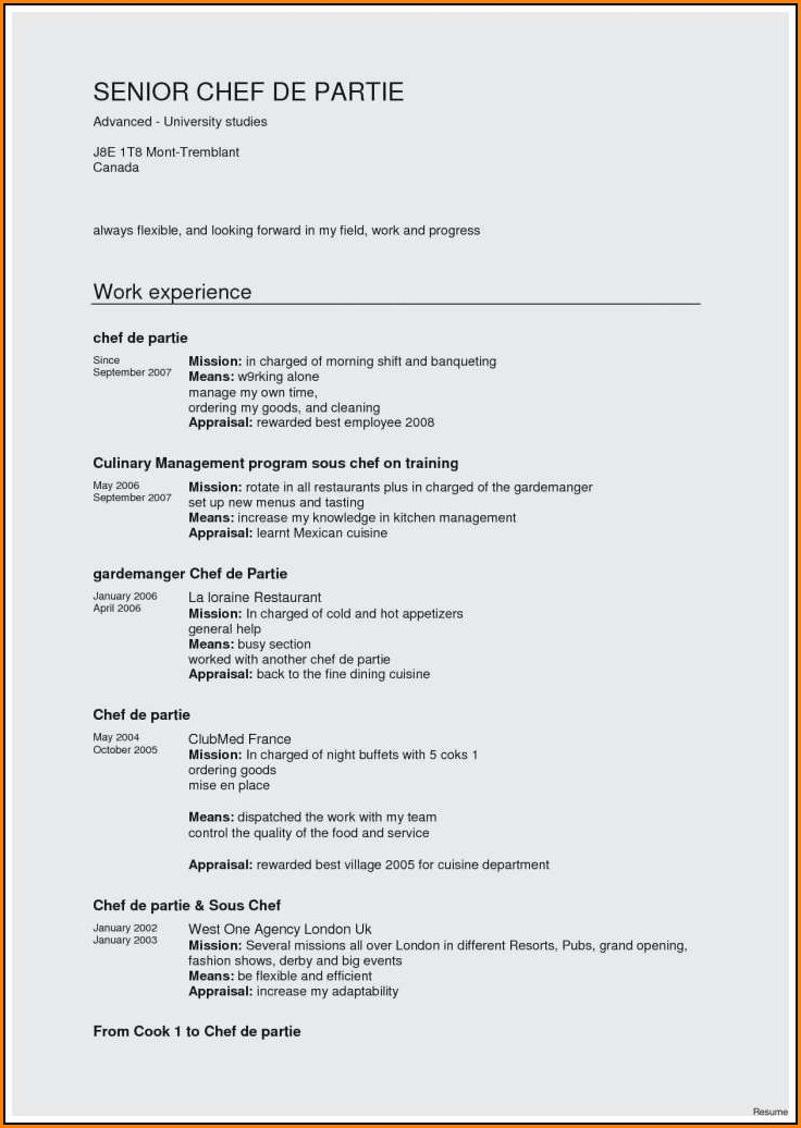 Resume Sample For Chef De Partie