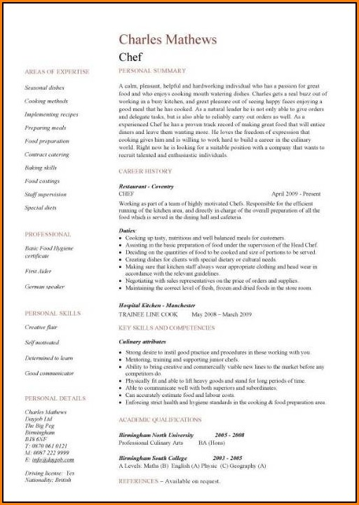 Resume Sample For Chef