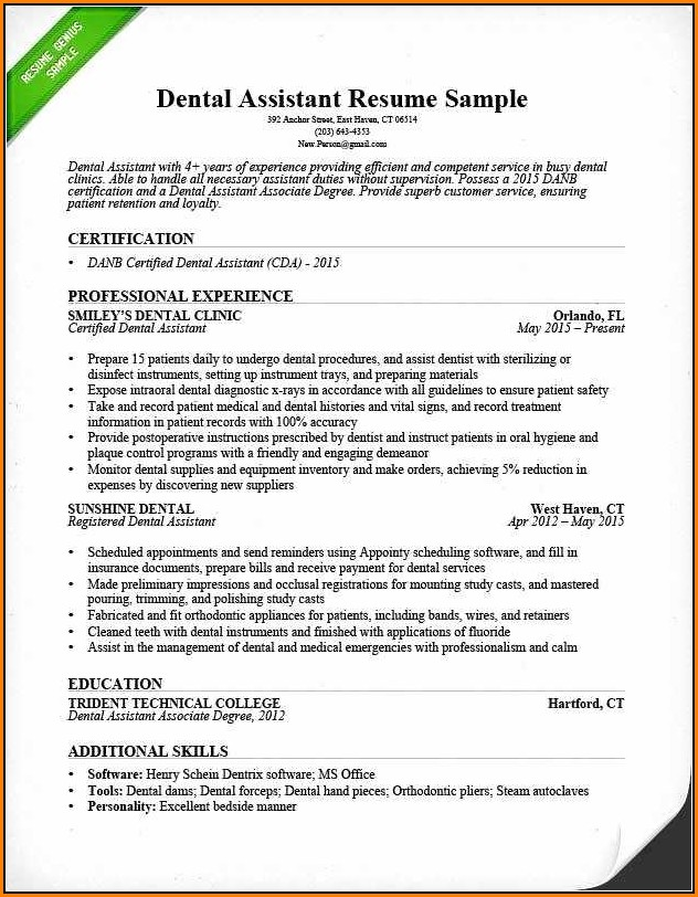 Resume Sample For Dental Assistant