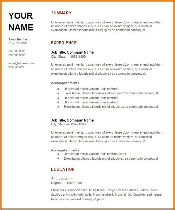 Resume Samples Doc Download