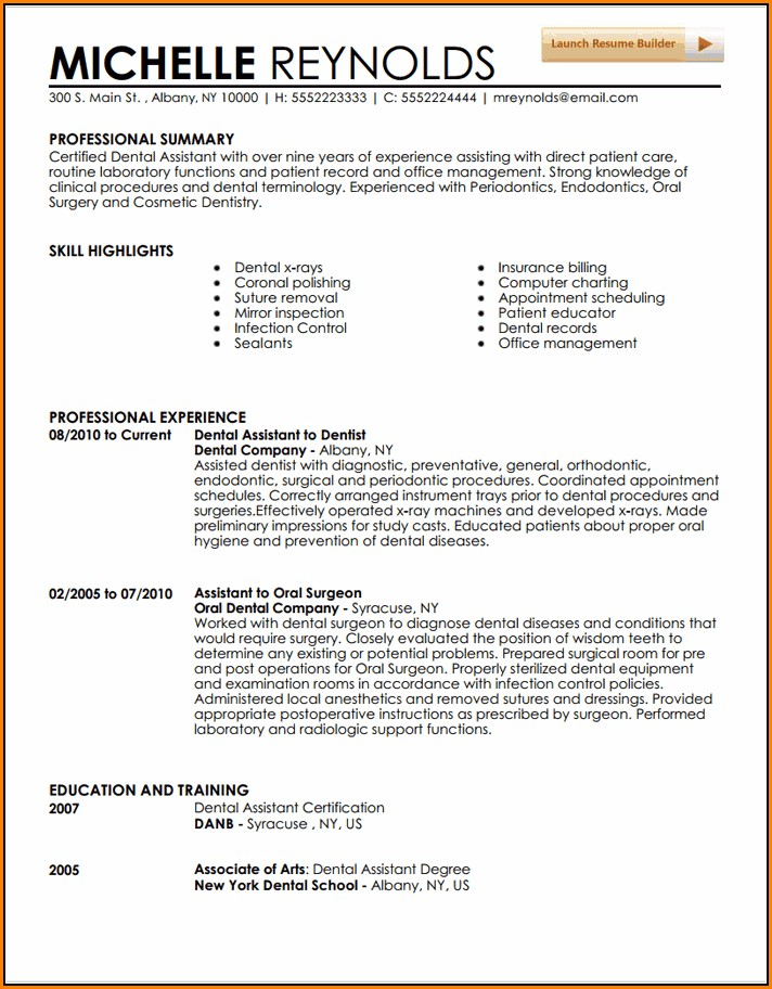 resume templates for dental assistant