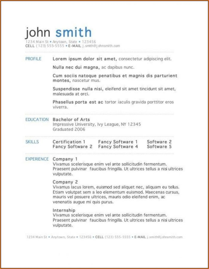 one page resume template word free template 2 resume examples