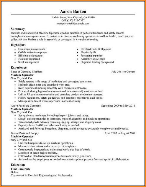 Resume Template For Machine Operator