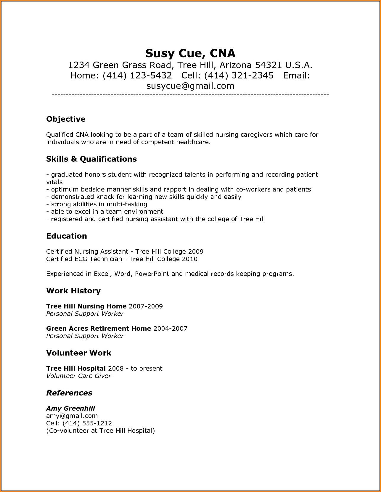 Resume Template For Nursing Assistant