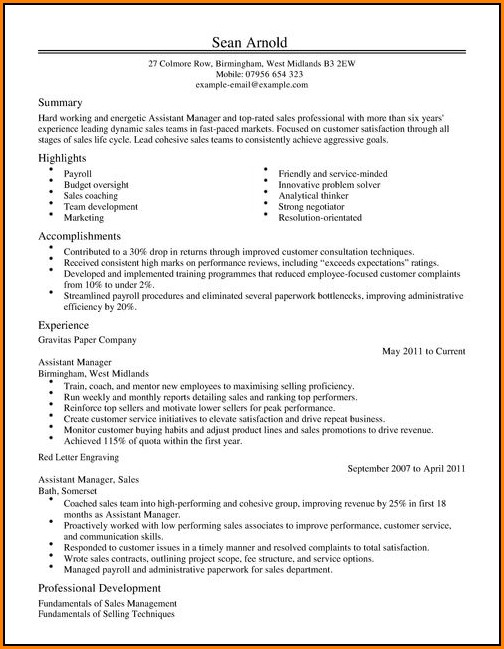 Resume Template For Sales Assistant