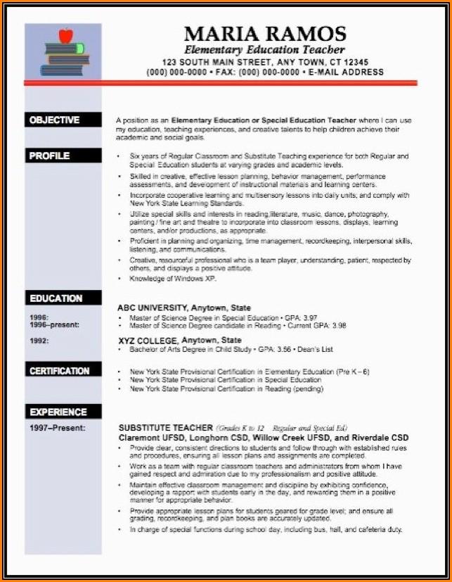 Resume Template For Teachers Australia