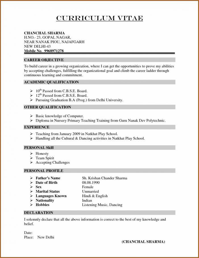 Resume Template For Teachers In India
