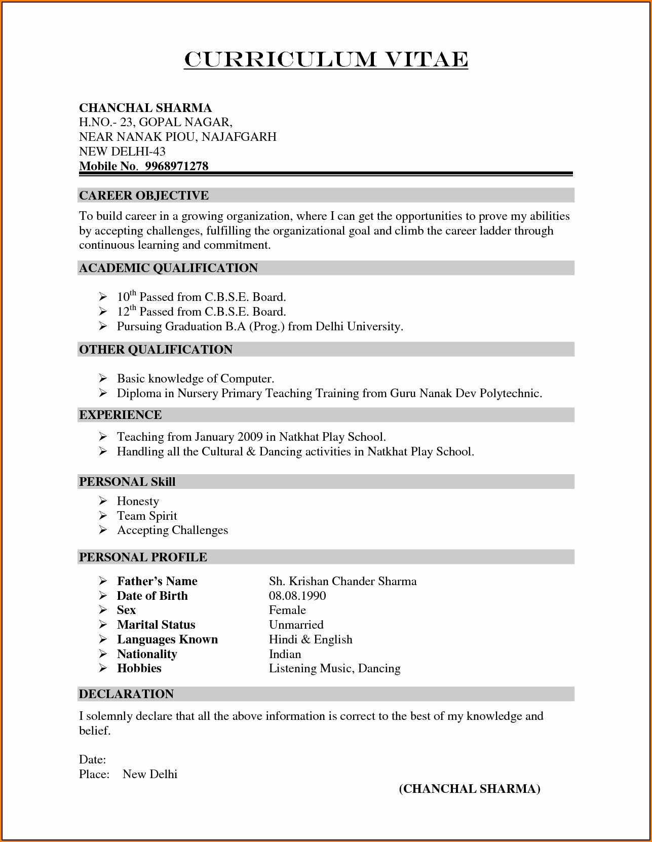 Resume Template For Teachers In India Resume Resume Examples