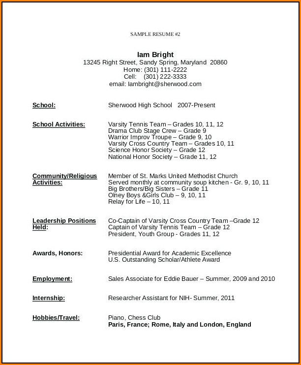 Resume Template For Teenager First Job