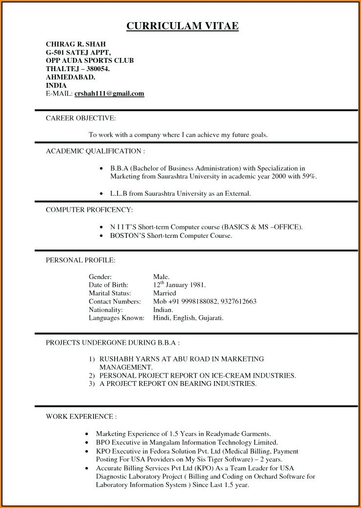 Resume Template Usa