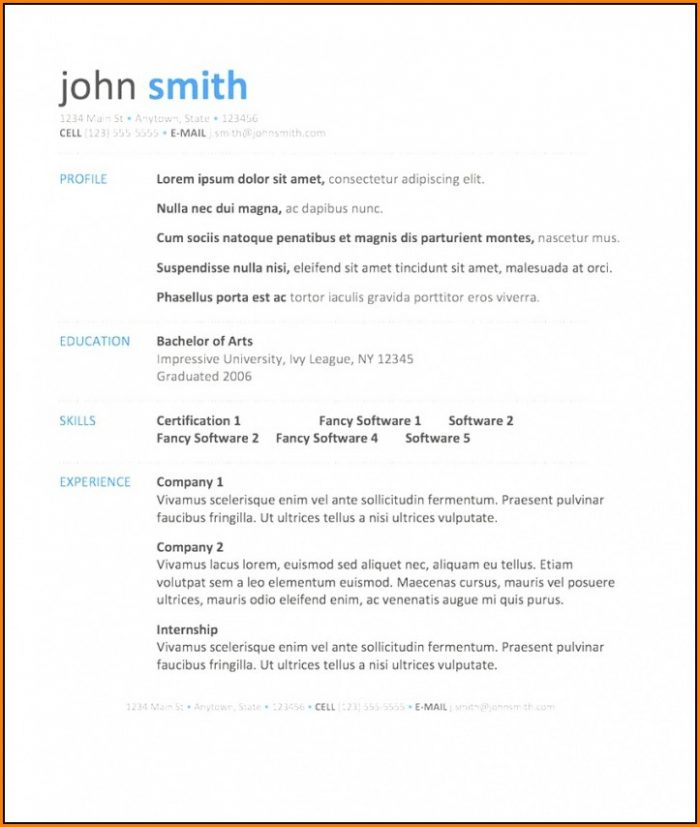 Resume Template Word Free Download 2018