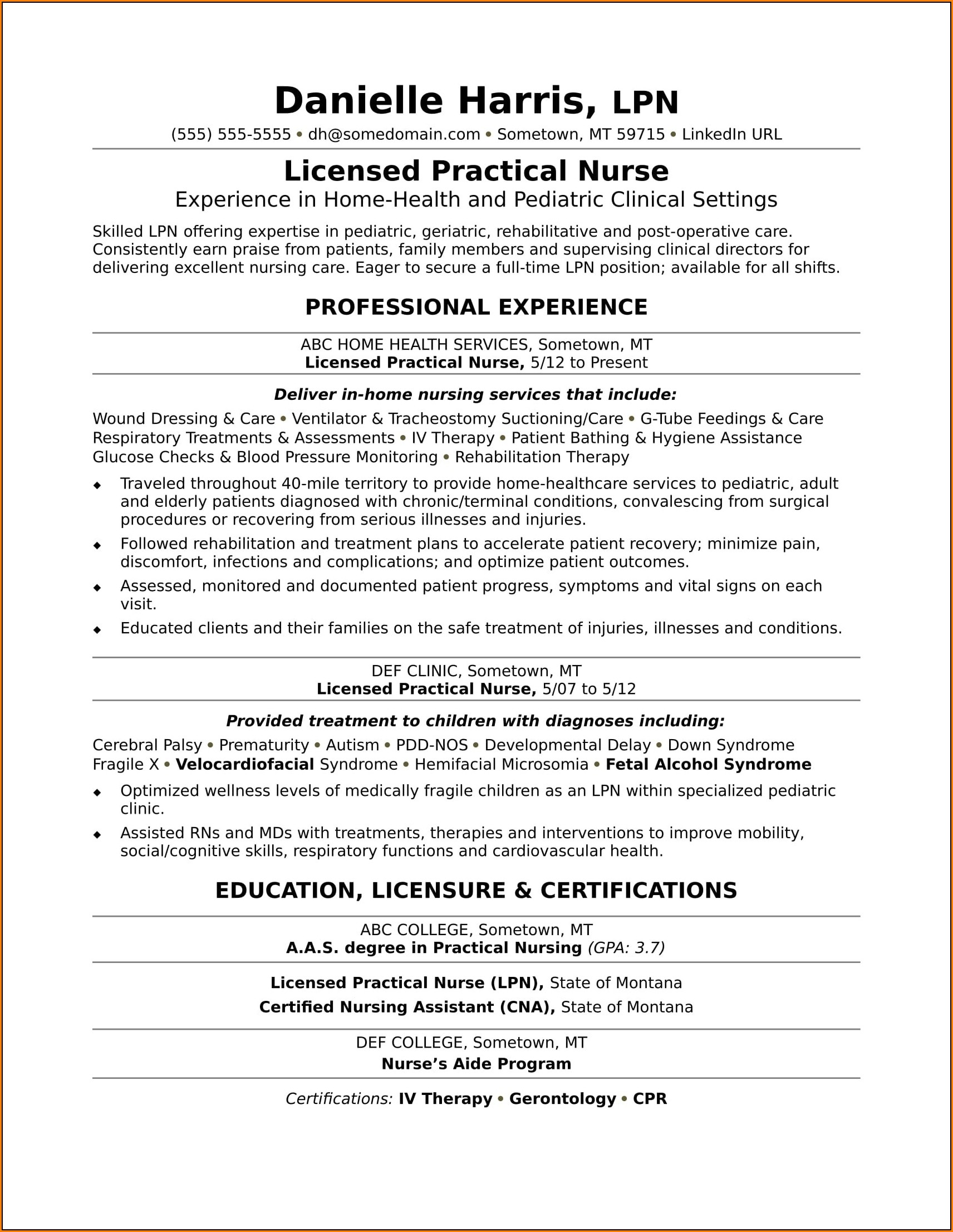 Resume Templates For Nurses Lpn