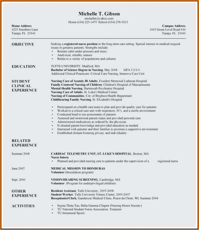 Resume Templates Rn New Grad