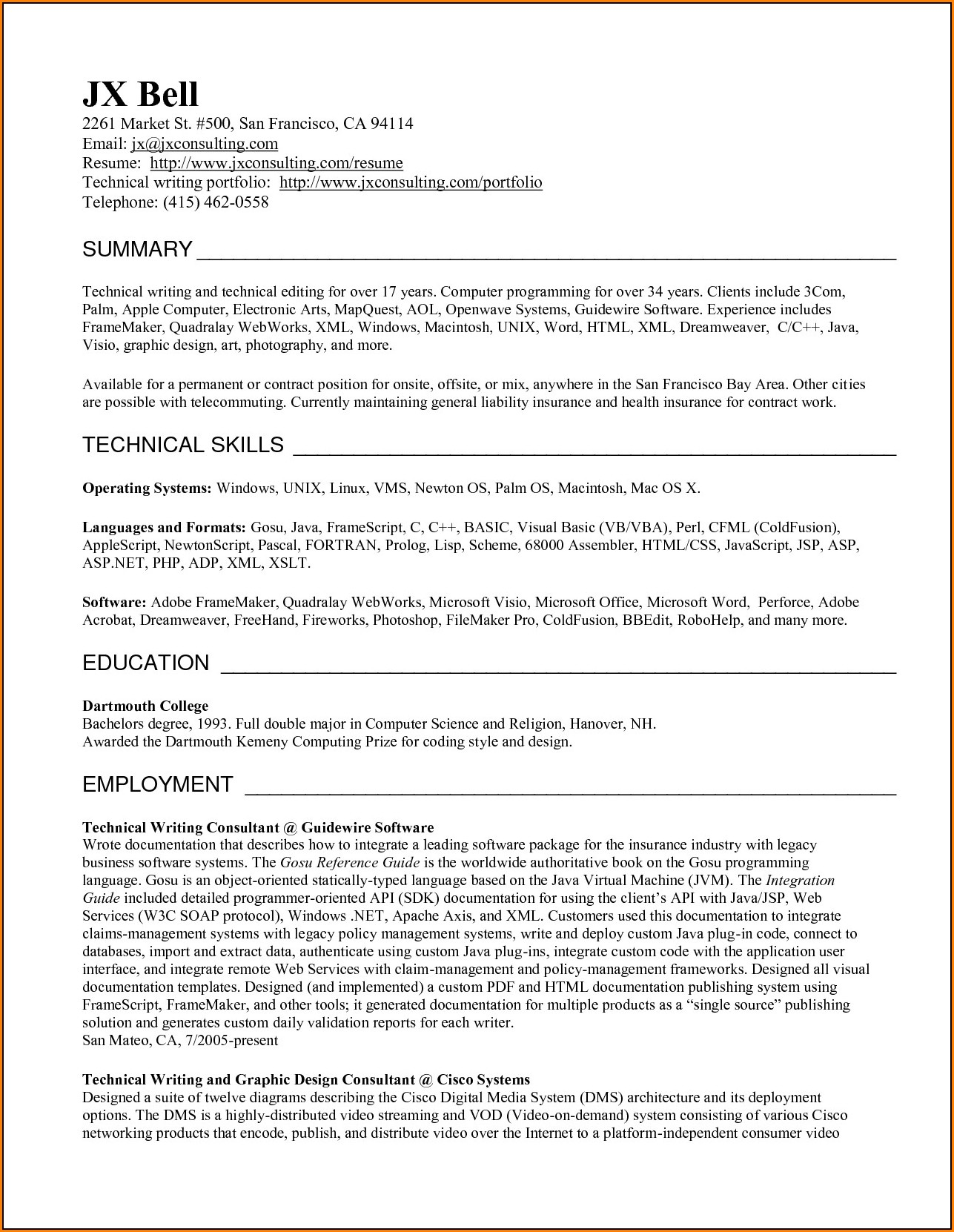 Resume Writer Bay Area