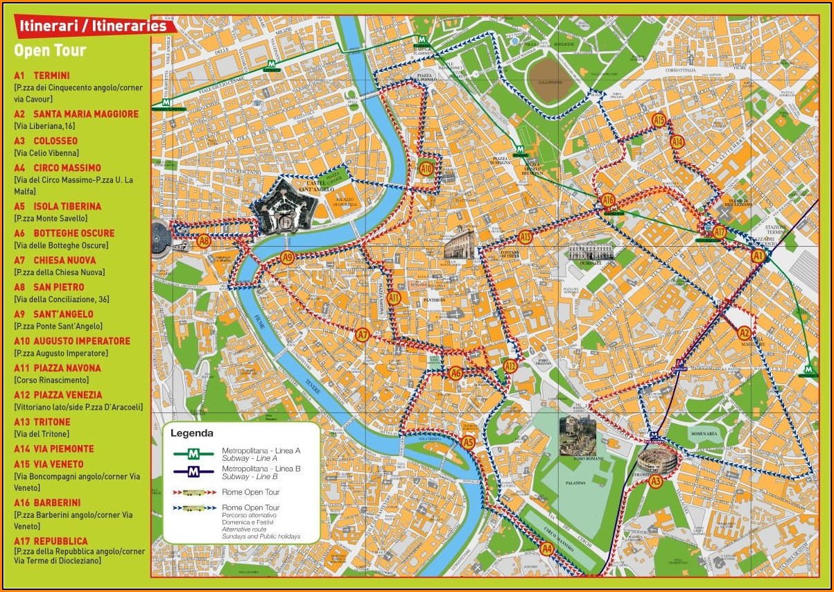Rome Hop On Hop Off Bus Route Map