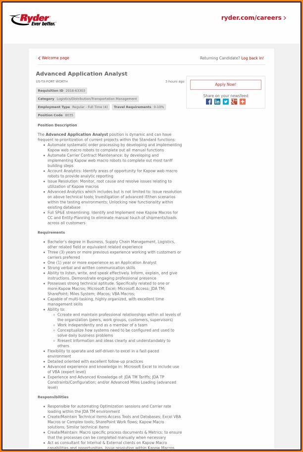 Ryder Job Application