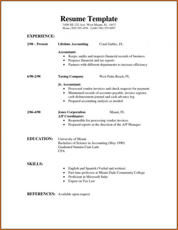 Sample Of Simple Resume Format