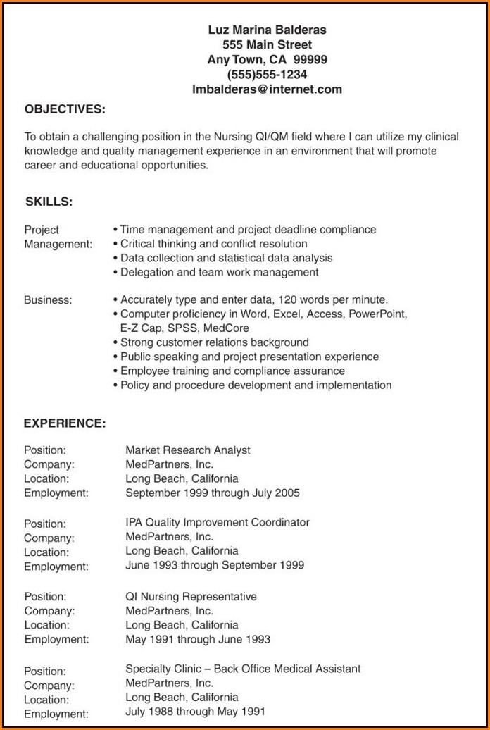 Sample Resume For Lvn