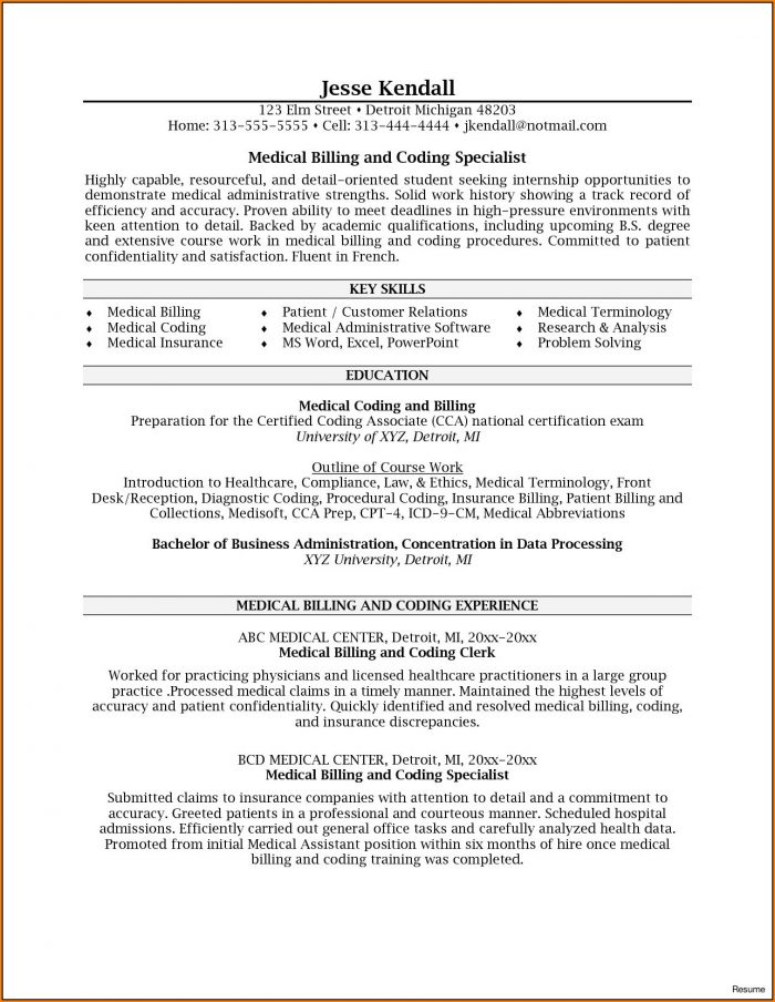 Sample Resume For Medical Billing And Coding