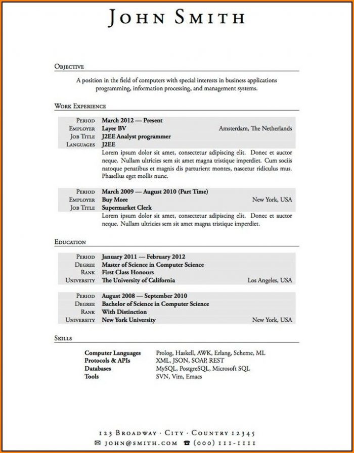 Sample Resume Template For High School Student