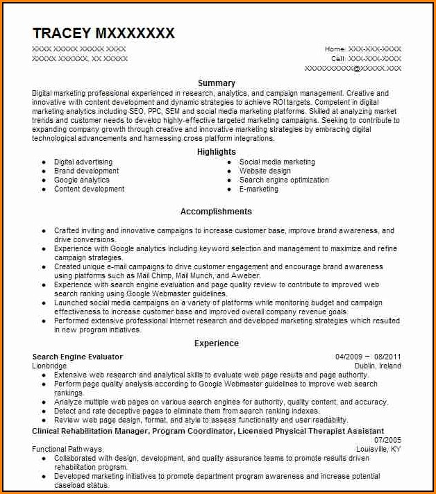 Search Engine Evaluator Resume