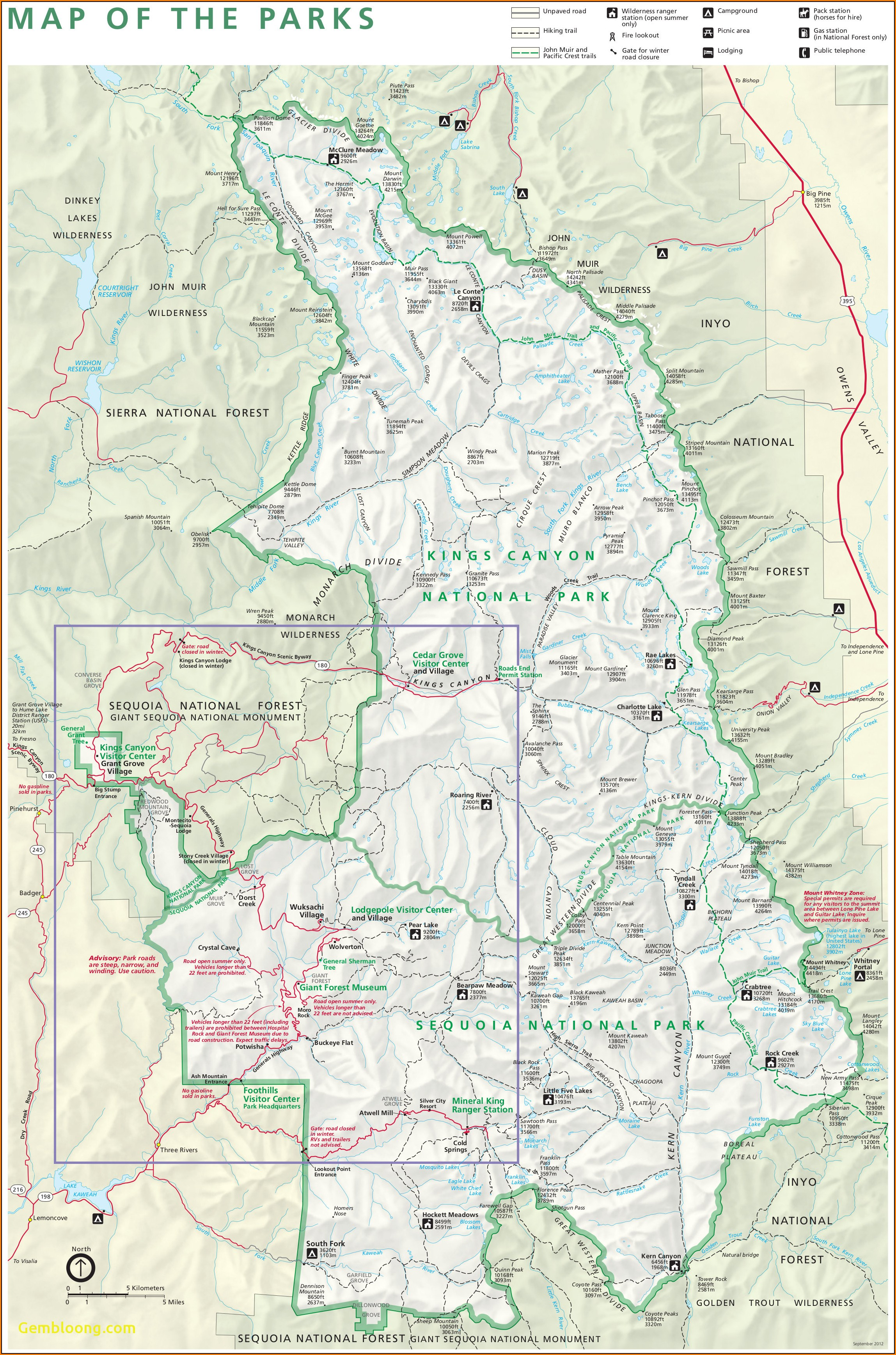 Sequoia Kings Canyon National Park Map