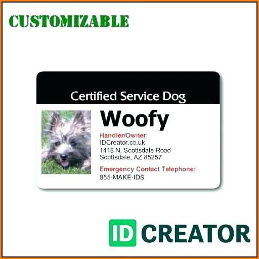 Service Dog Badge Template