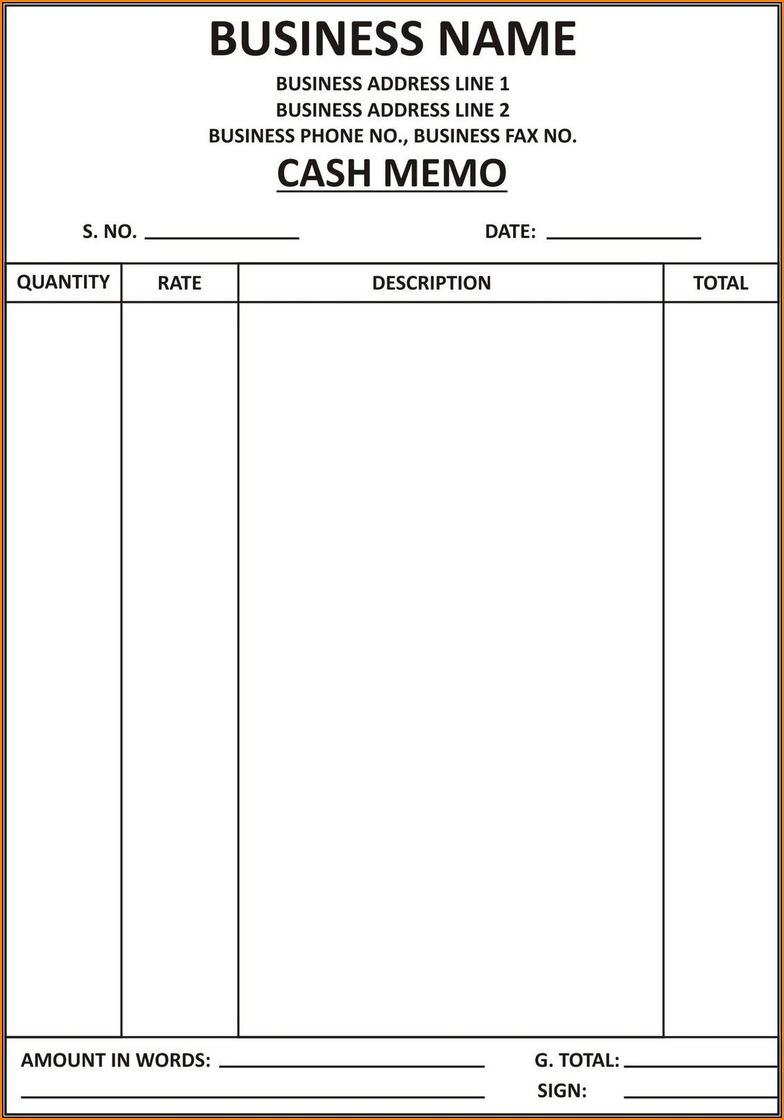 Simple Cash Invoice Template