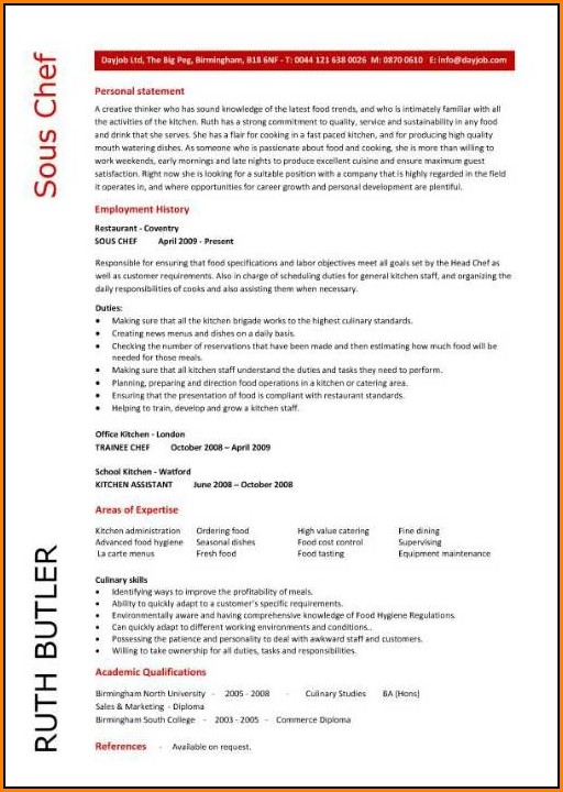 sous chef resume