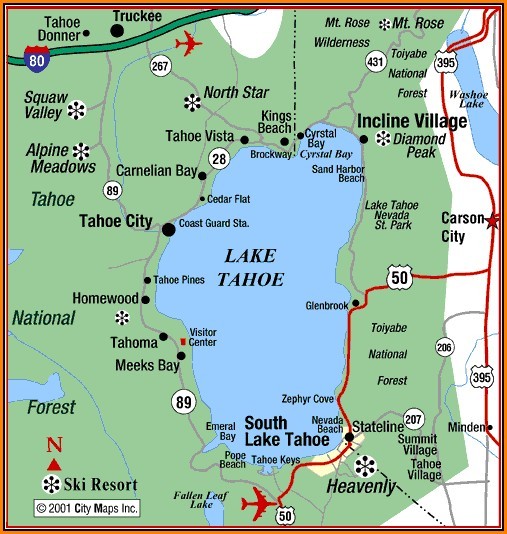 South Lake Tahoe Hotels Map