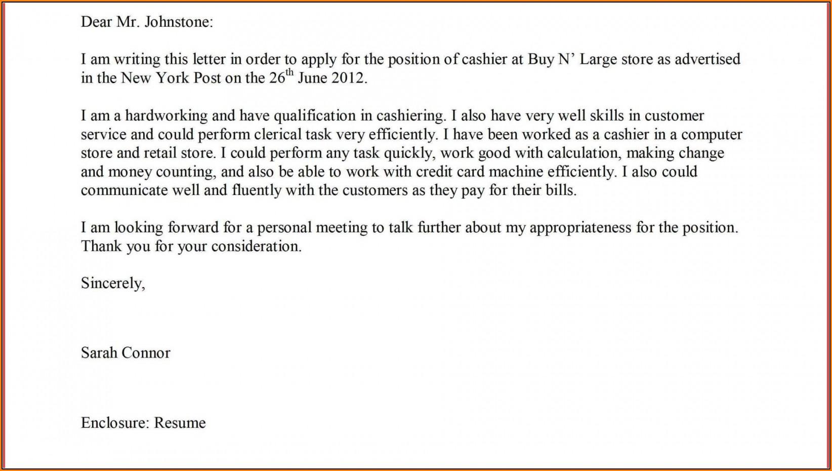 Supermarket Job Application Letter Sample