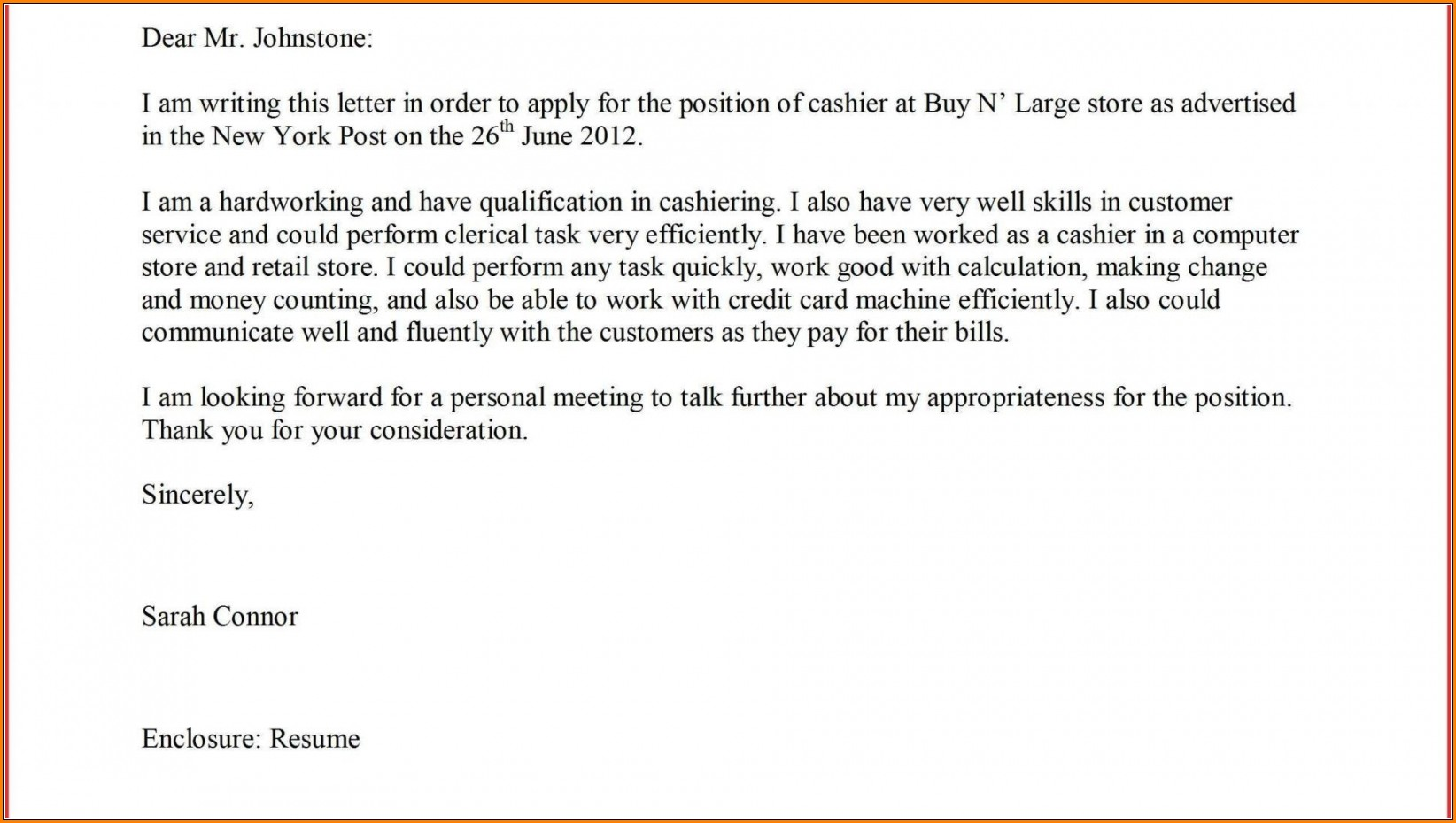Supermarket Job Application Letter