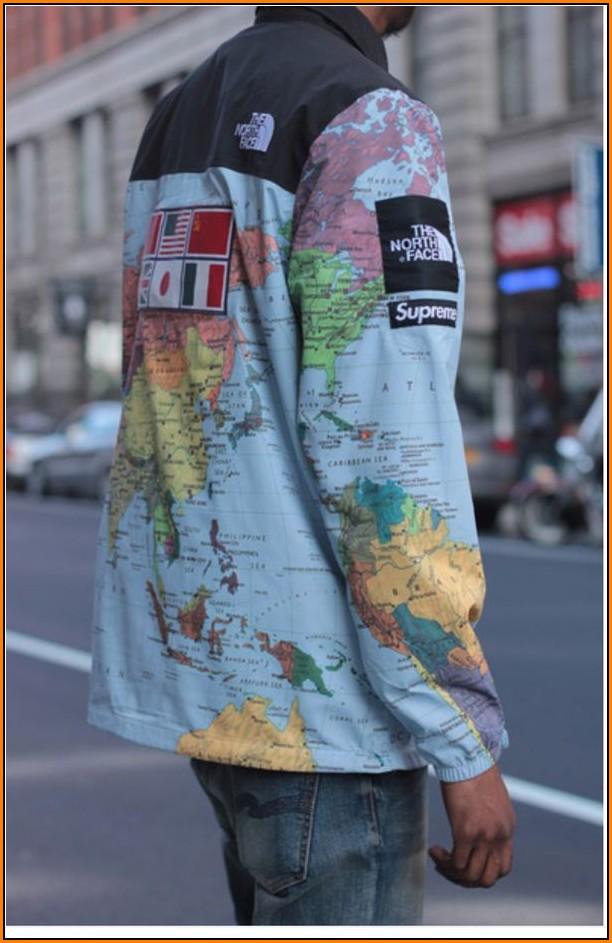 Supreme North Face Map Jacket For Sale