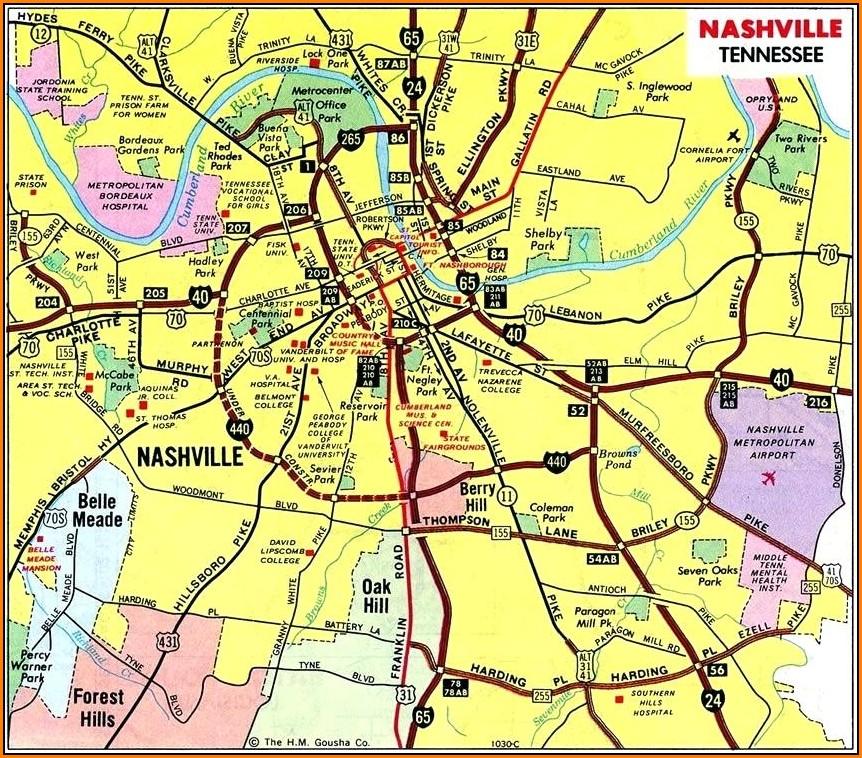 Tennessee Map Gatlinburg Nashville