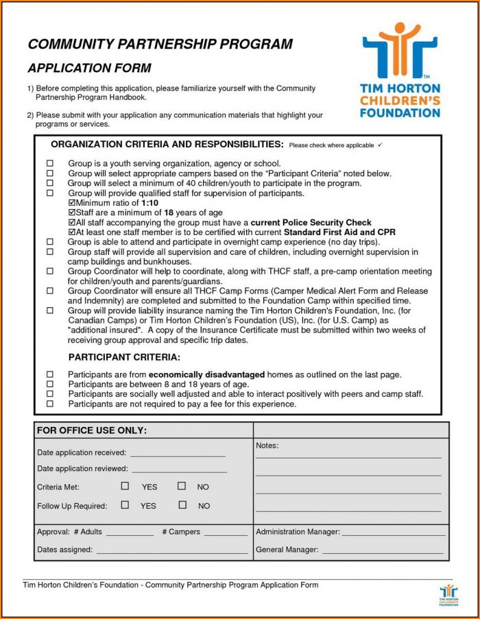 Tim Horton Job Application Form