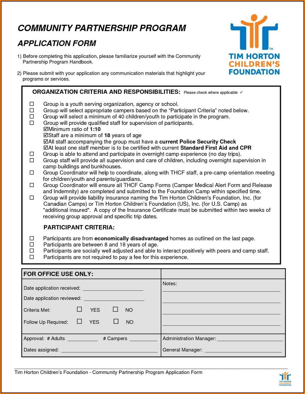 Tim Horton Job Application Form