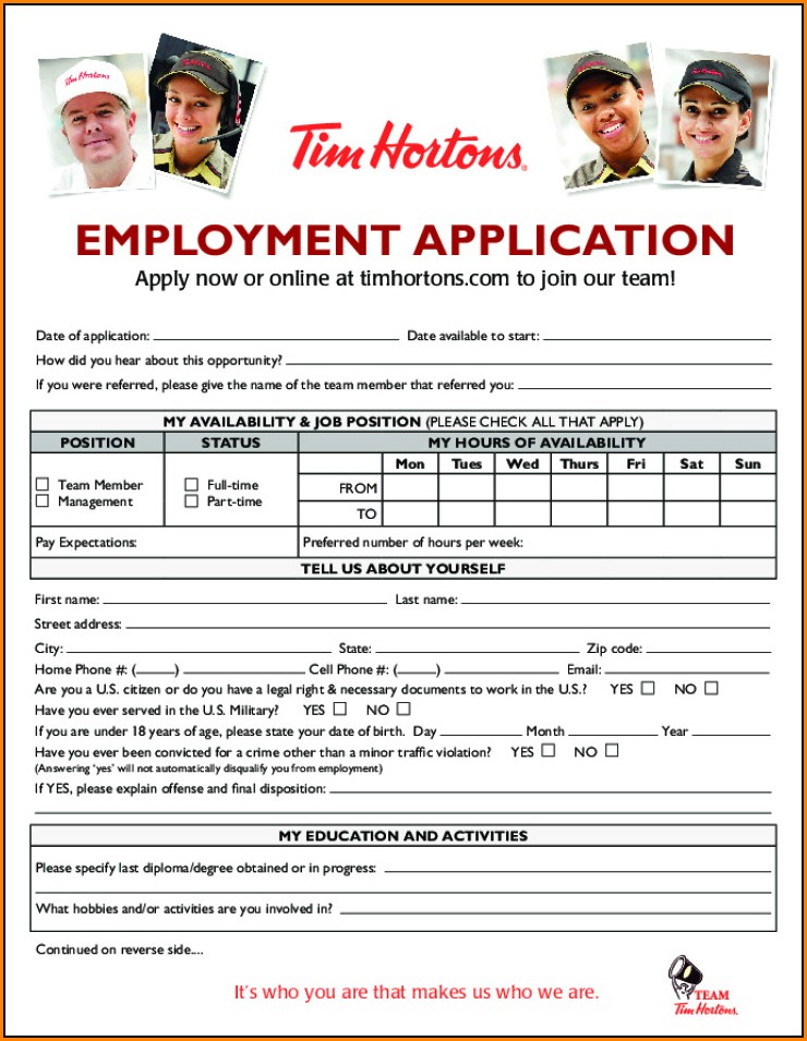 Tim Hortons Job Application Form Canada