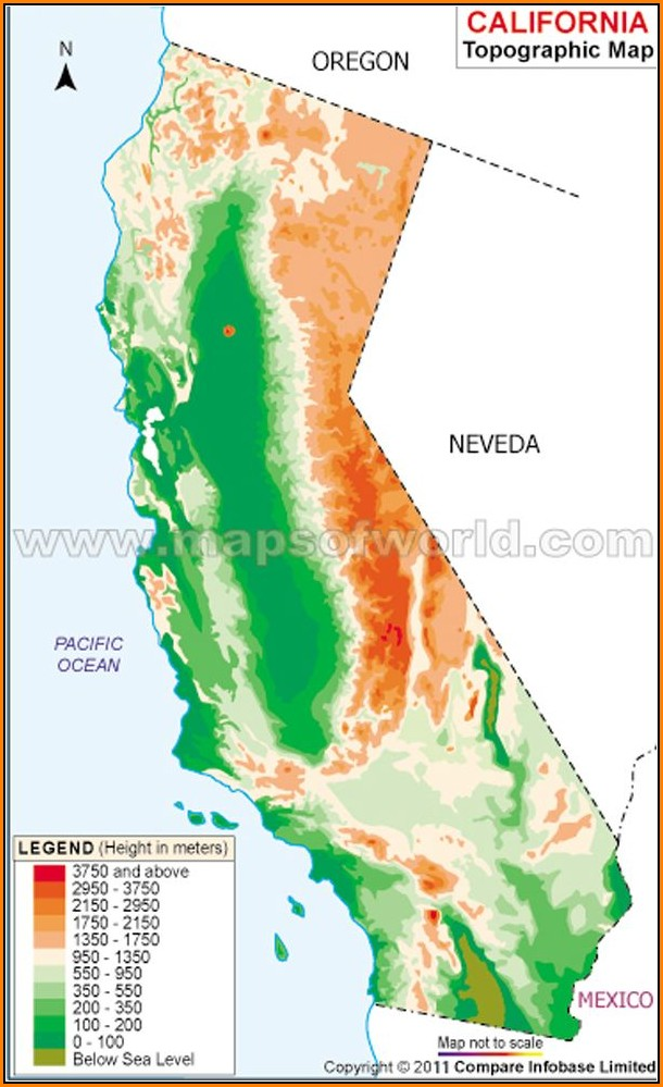 Topographic Map Of California With Cities